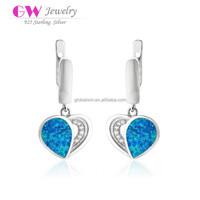 Blue Opal Stones Silver Heart Stud Earring With Opal