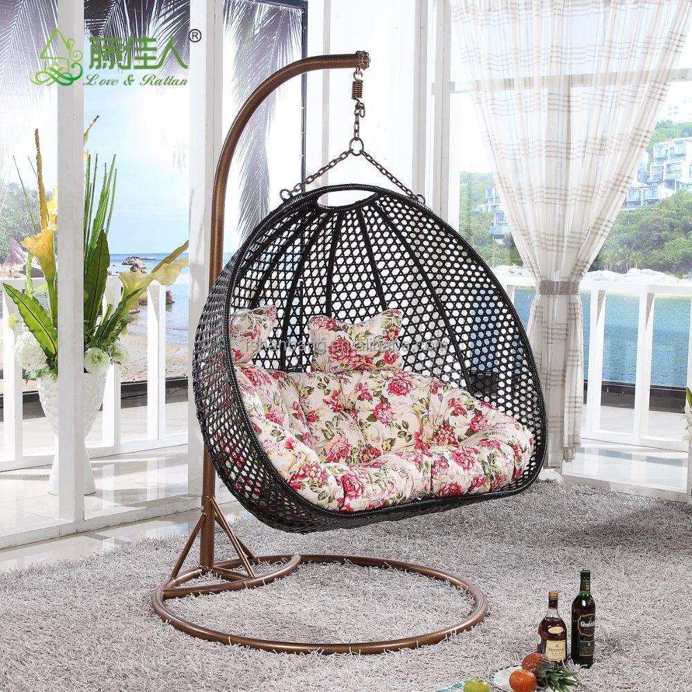 Indoor Outdoor Patio Garden Living Room Rattan Wicker Bird Nest Swing Hanging