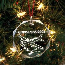 Engraving Plane Christmas Glass Ornaments For Kids Gifts SJ-GJ283