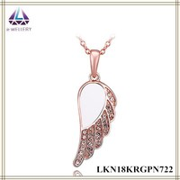 Fairy Alloy Wings With Glitter Zircon Setting Angel Wing Pendant Rose Gold Chain Necklace For Fashion Girls