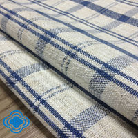 width 2.2 meter yarn dye blue and white grid polyester-linen fabric sofa fabric