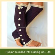W-1143 Fashion Ruffles Trim Lace Knee High Crochet Boots Socks/Hot Girls Knitted Lace Ruffles Buttons Leg Warmers