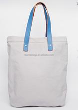 Cotton Canvas Tote Bag/Canvas Tote Bag Leather Handle