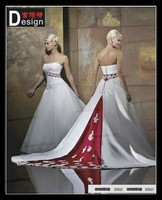 Classic Ball Gown White Taffeta Wedding Dress With Red Belt For Sae