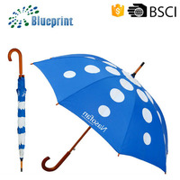 Promotional Wooden Shaft Handle Straight Umbrella Design