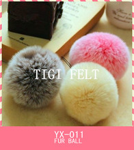 colourful rabbit fur pom pom ball for keyring and bags