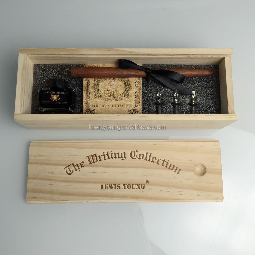 França estilo madeira Caligrafia caneta set/fountain pen com caixa de presente de Madeira