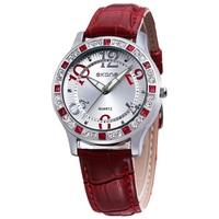 hot sale red women's watch wrist fashion quartz japan movt