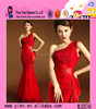 Hot Sale Sexy Mermaid Red Lace Evening Dress Newest Design One-shoulder Red Lace Evening Dress