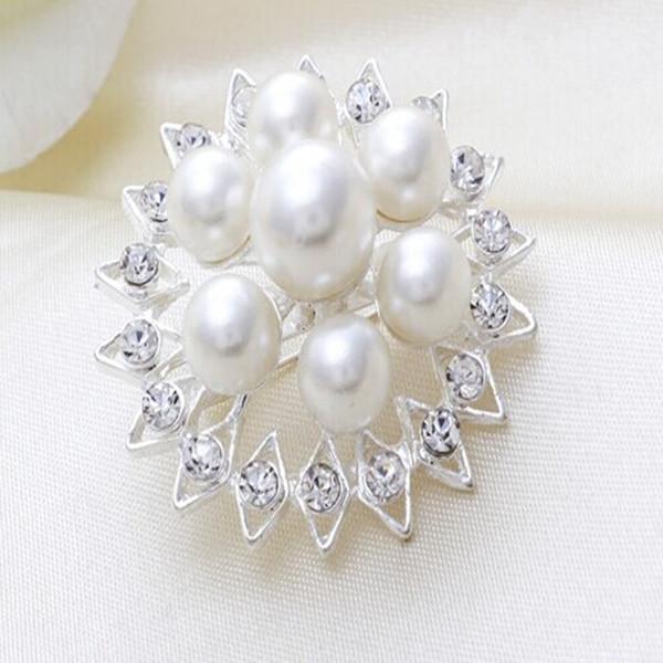 mini strass branco e prata <span class=keywords><strong>para</strong></span> festas de casamento brilhante mulheres broche de cristal