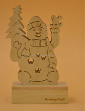 2015 laser cutting snowman wooden decoration with light