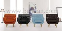 Baotian Furniture Crushed Velvet Latest Designs Contrast Color Fabric Sofa Set
