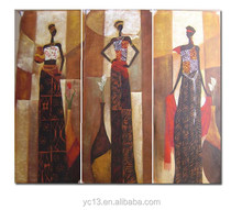 hot order kids room decorative stretched abstract african women oil painting