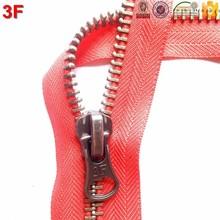 5# red brass coat metal zipper high quality open end 3F1237