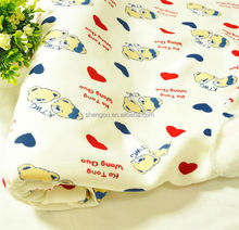 wholesale children print combed cotton/polyester brushed thermal underwear knit velvet fabric