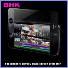 9H liquid bullet proof dark privacy screen protector for iphone 6 , privacy glass screen protector