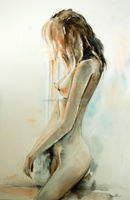 Abstract long hair naked woman slim senior decoration paintings oil painting in canvas