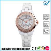 PVD Rosegold/Silver alloy case ceramic band quartz japan movment lady ceramic watch