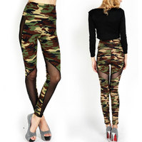 wholesale Hot sale Women leggings hollow out sexy camouflage Leggings for women