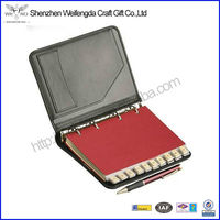 2014 Promotional Leather Notebook With Pen Paypal Acceptable PU Leather Agenda