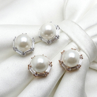 Charm stud earring with big freshwater pearl in zircon circle, ear stud for girls