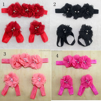 Fashion Baby Headband And Foot Flower Sets Infant Hair Accessories Headband