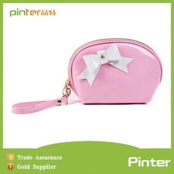 Super quality PU leather candy color lovely PATENT comestic bag