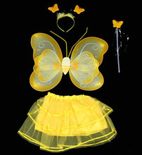 girl's golden butterfly sets costume girl's festival wear skirt, butterfly, headwear and Fairy gold