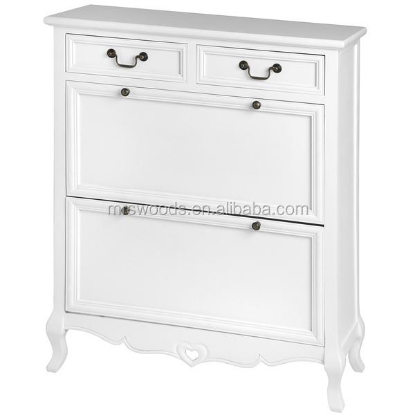 Mw maison antique fran ais shabby chic salon bois de pin blanc peint 2 tiroir - Meuble par correspondance ...
