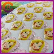 Lovely girl printed cheap made clear epoxy resin dome sticker