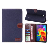 FL477 superior quality luxury jean printed card holder stand wallet leather case for samsung tab 4 T330 paypal accepted