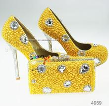 wholesale yellow platform shoes crystal heels for wedding