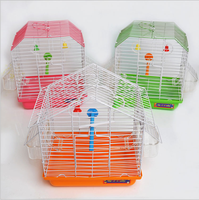2 plastic cup wire mini pet bird cage