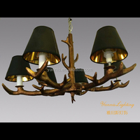 modern wood beer anlter chandelier with fabric for hotel, restaruant ,bar . wooden chandelier lamp , wooden rustic lighting