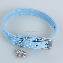 Popular and fashional wave point pet collar Leather collar For small dogs Peach heart dog wear-resisting blue collar