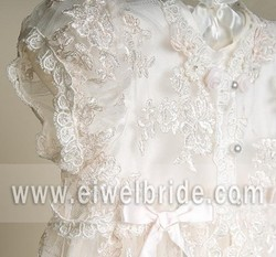 CH001 New Cheap Hot Sale Lovely Imitated Silk Baptism Robe Lace Baby Christening Dress Christening Gown