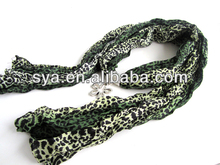 2014 infinity pendant scarf with Leopard printed