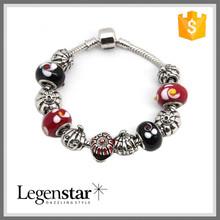 Unique Handmade Halloween Bracelet Glass Murano Red Beads Pumpkin Charm Bracelet PB0015