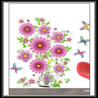 Hot Sale Butterfly &Flowers Vinyl Removable Home Decal Pretty Decor Art PVC Wall Sticker