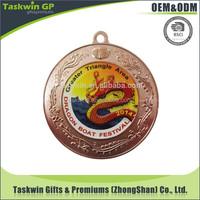 Custom folk art promotional metal medal with prined logo sticker