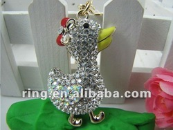 Clear Duck Bow Goose Crystal Key Ring Key Chain Fob