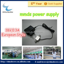 European Style 18V 0.3A DC Power Adapter for MMDS Downconverter with Good Quality