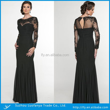 Floor-length Scalloped Neck Lace Evening/Prom/Party Dresses Long Sleeves Mother of The Bride Dress