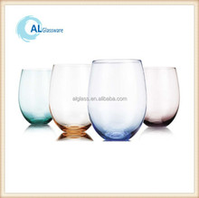 stemless wine glass tumbler glass, glass tumbler with round bottom