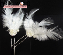 Pearl White Flower Bridal Party Hair Pin Feather Hairpins for women