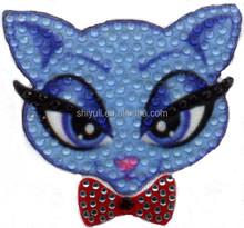 cute cat design crystal rhinestone heat transfer motif with sublimation printing