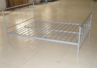 Wood Legs Queen Size Bed Metal Frame Double bed