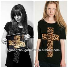 2014 ropa para mujer de primavera verano de leopardo de la cruz la mujer señora t- shirt tops blusas