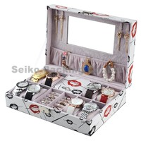 Fancy Letherette Watch Box with Pillow Stock Ring Storage and Mirror