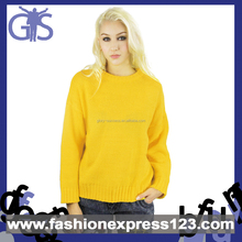 2015 Hot vente OEM jaune acrylique tricoté femmes pull
